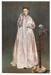Parrot Posters - Woman with a Parrot Poster by Edouard Manet