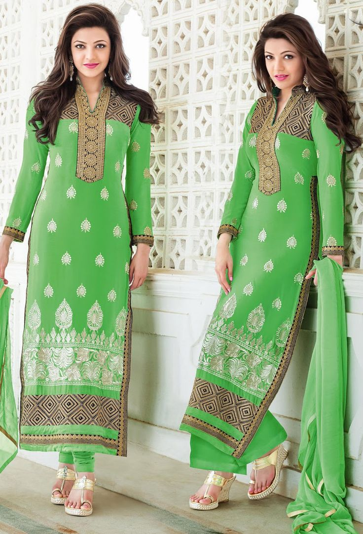 #Charming #Kajal Agarwal In Light #Green #Suit