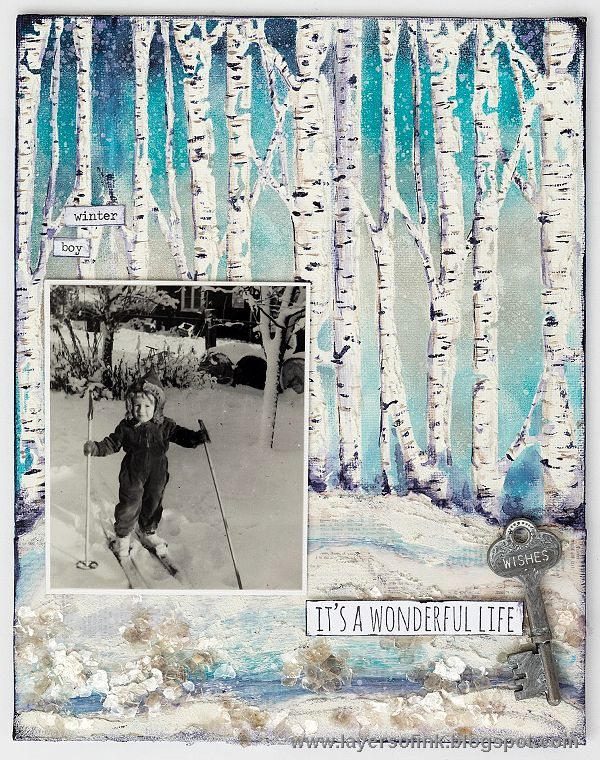 Layers of ink - Birch Tree Mixed Media Tutorial by Anna-Karin. Made for the Simon Says Stamp Monday Challenge Blog, with a stencil and stamp by Tim Holtz and Stamper's Anonymous, Dina Wakley paint by Ranger, and Ranger pastes.