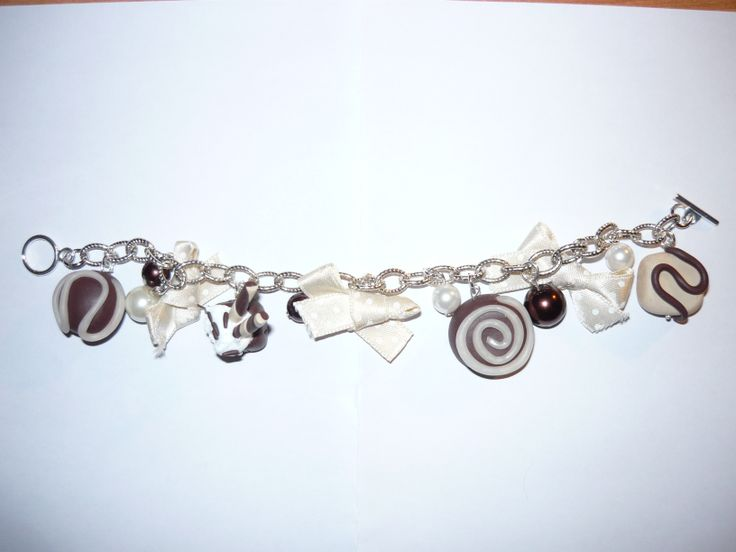 #Bracelet with #polymerclay #pendants - sold