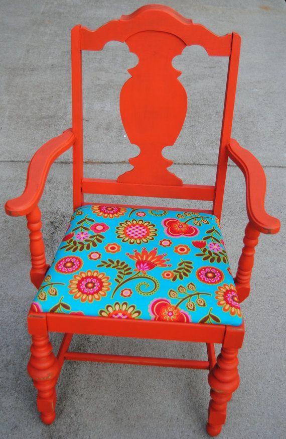 Painted vintage chair floral upholstered by GrandmaGingersCloset