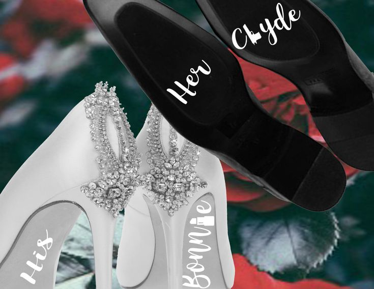 Bride Groom Decal/ Bonnie and Clyde Decal/ Wedding Shoe Stickers/ Wedding Shoe Decal/ bridal shoe/ wedding shoes/ wedding decoration by TieTheKnotShoppe on Etsy https://www.etsy.com/ca/listing/482859427/bride-groom-decal-bonnie-and-clyde-decal