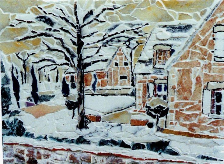 Mosaïque: maisons et jardins en hiver sous la neige : Mosaiques par michel-brault