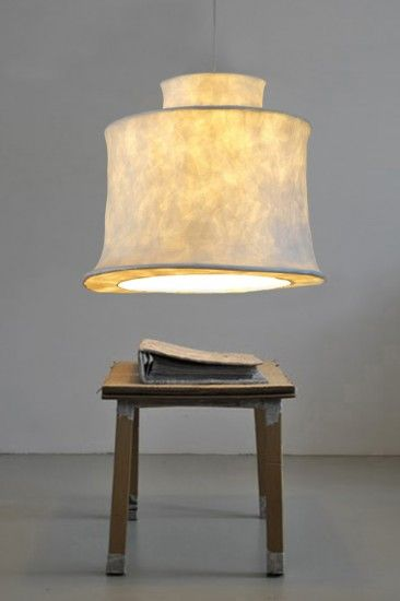 Beautiful handmade pendant of translucent paper mache. The sturdy lamps hang like a big lantern in your house and spread around a very soft light. Through the opening at the bottom indicate the lamps sufficient light, for example over a table. www.molitli.nl