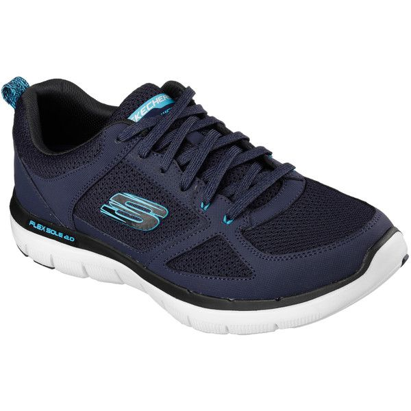 Skechers Men's Flex Advantage Navy 7.5 - Skechers ($60) ❤ liked on Polyvore featuring men's fashion, men's shoes, men's loafers, navy, skechers mens shoes, mens lace up shoes, mens navy shoes, navy blue mens shoes and mens shoes