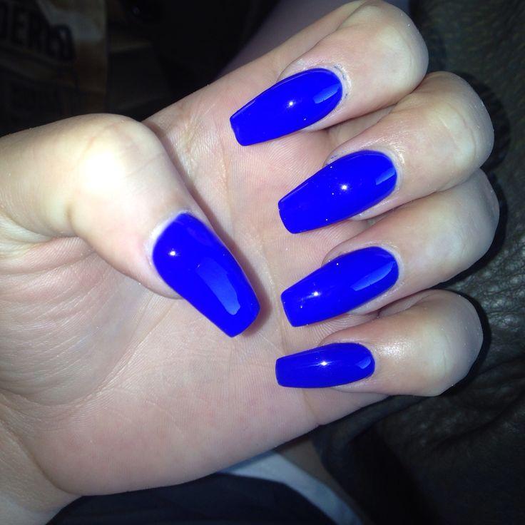 Light Blue Acrylic Nails Glitter Square