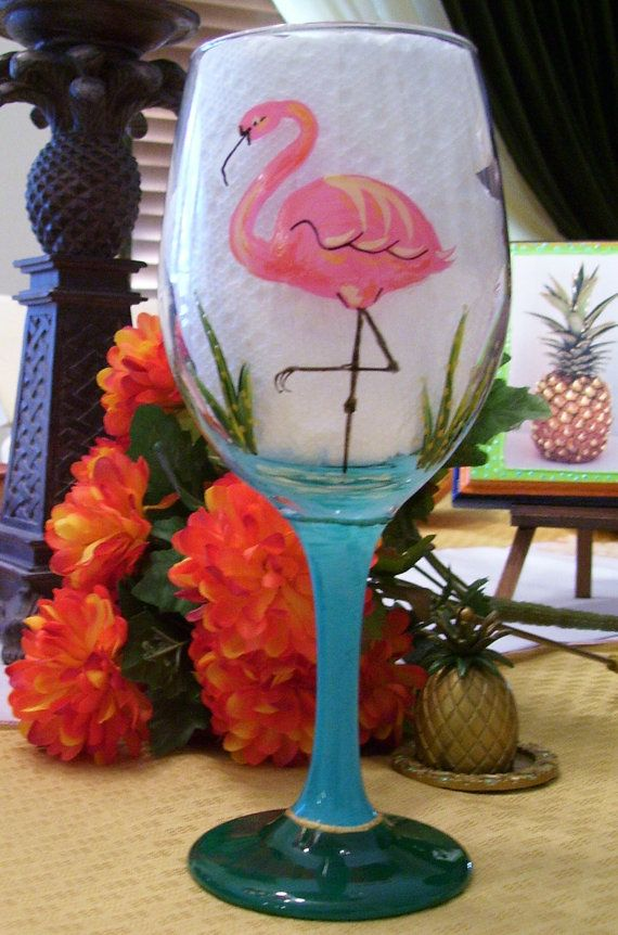 Flamingo Wine Glass Hand Painted
