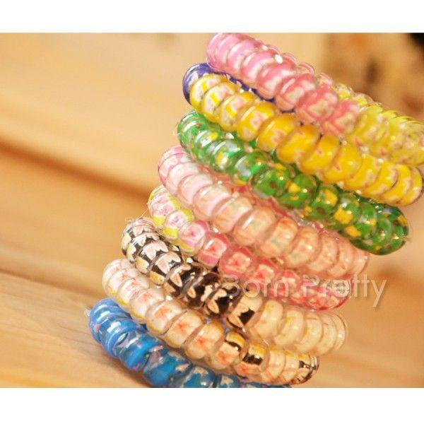 $1.00 1 pc Colorful Elastic Phone Wire Strap Hair Band(Random Color) - BornPrettyStore.com