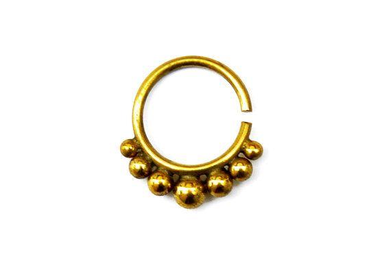 Anillo tribal tabique, Septum Piercing, anillo de cobre amarillo del tabique tabique oro, Tribal tabique, tabique de latón, anillo de la nariz, tabique indio anillo, aro de la nariz