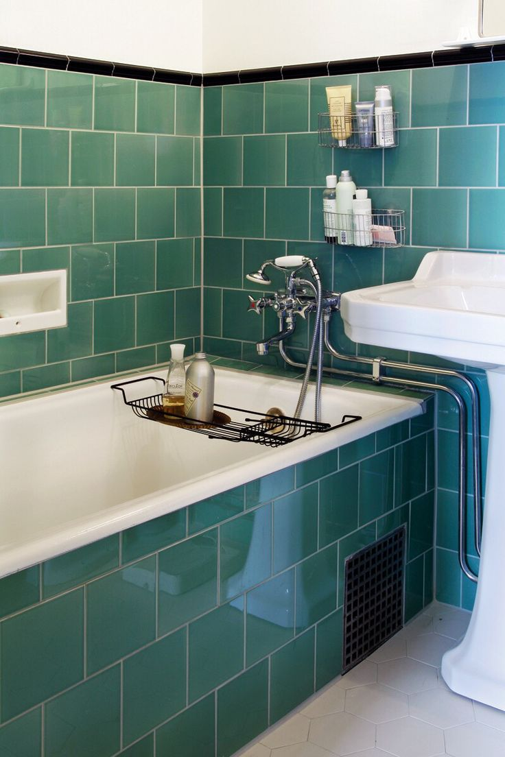 Green built in bathtub
