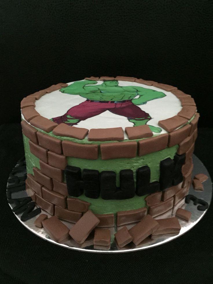 Incredible Hulk cake for a boy's 3rd birthday. Edible print & chocolate fondant.