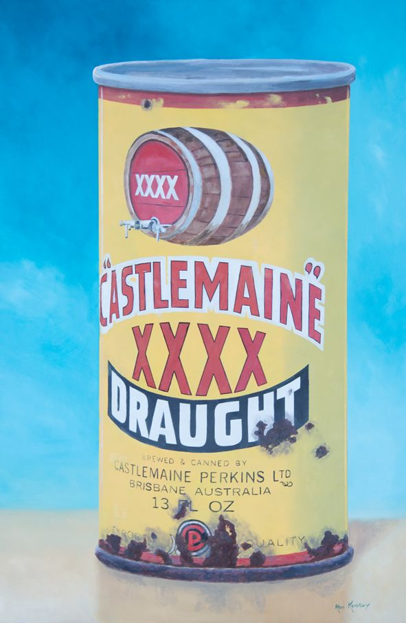 The venerable Australian 4X tinny.  The can of pleasure.  Oil paint on milled aluminium sheet.