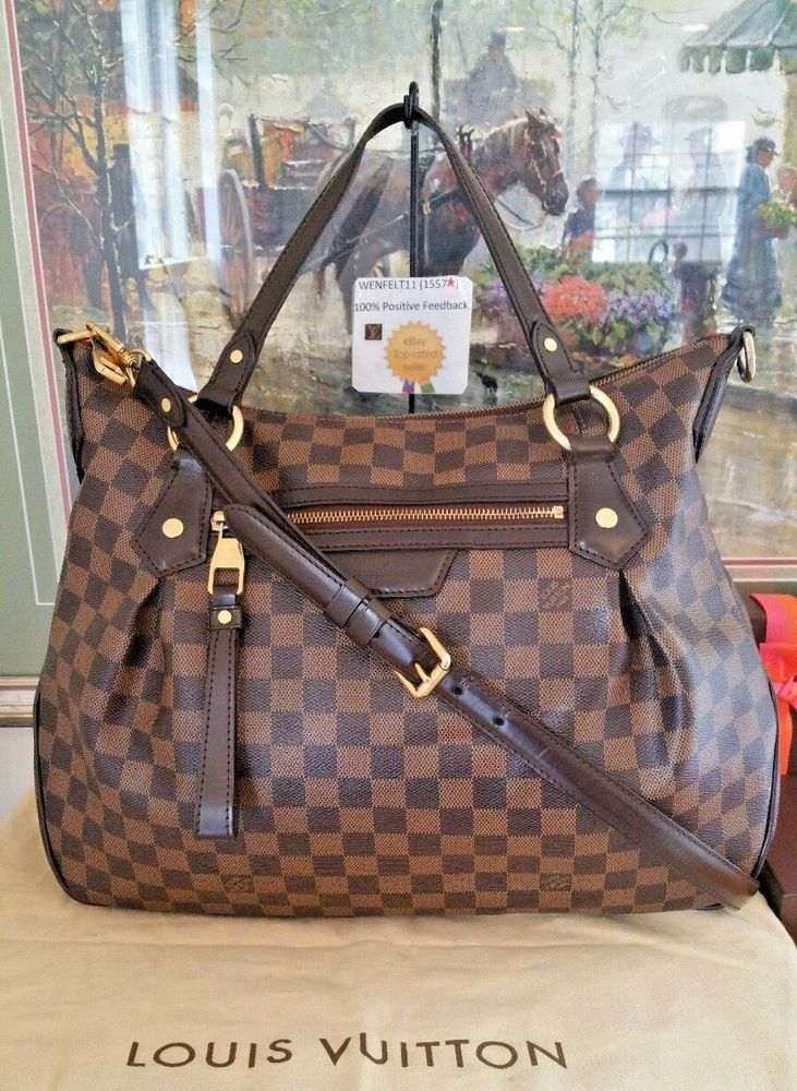 68ba38ec84f7 Dust Bag Evora MM Dust Bag Louis Vuitton Auth Damier Ebene Tote Shoulder  Purse  fashion  clothing  shoes  accessories  womensbagshandbags ...
