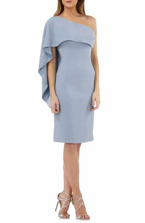 b33e8b51ec6b Carmen Marc Valvo Infusion One-Shoulder Cape Sheath Dress   Style ...