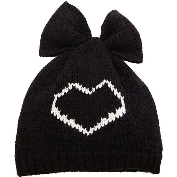 Betsey Johnson Heart Breaker Bow Beanie ($6.99) ❤ liked on Polyvore featuring accessories, hats, white, bow beanie, embroidery hats, white hat, white beanie hat and beanie cap hat