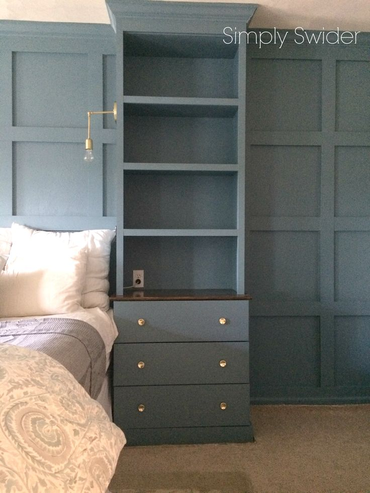 Master bedroom built-ins in Benjamin Moore Blue Echo.
