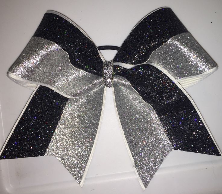 """Cheer Bows for sale; 3"""", 3 inch cheer bow with black and silver holographic glitter on grosgrain ribbon by blingitoncheerbows on Etsy https://www.etsy.com/listing/234250582/cheer-bows-for-sale-3-3-inch-cheer-bow"""