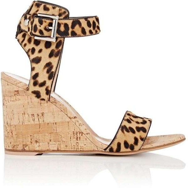 Gianvito Rossi Women's Rikki Wedge Sandals ($419) ❤ liked on Polyvore featuring shoes, sandals, brown, wedge heel sandals, leather wedge sandals, brown leather sandals, brown sandals and leopard wedge sandals