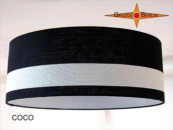 Lampenschirm COCO Ø 60 cm Leinen Schwarz Weiss. Klassik in Schwarz-Weiss mit plastischer Eleganz durch aufgesetztes Gitternetzgewebe