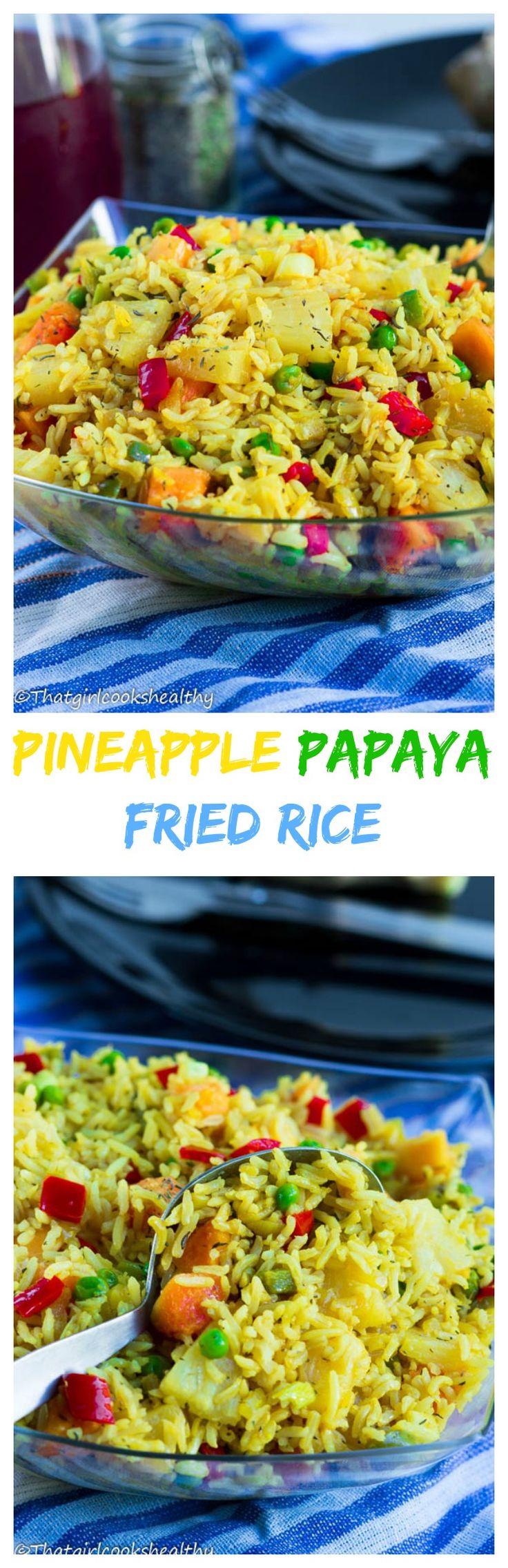 pineapple papaya fried rice   http://thatgirlcookshealthy.com/pineapple-papaya-fried-rice