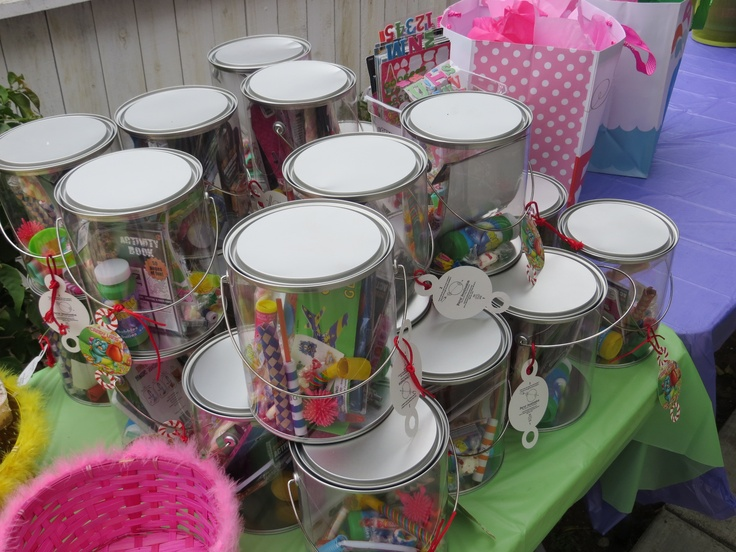 empty clear paint cans for the kids goodie bags let them decorate with stickers and have an. Black Bedroom Furniture Sets. Home Design Ideas