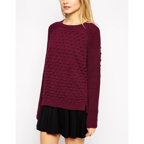 Pull&Bear Bobble Knitted Jumper (€26) ❤ liked on Polyvore featuring tops, sweaters, jumper tops, jumpers sweaters, purple top, purple sweater and purple jumper