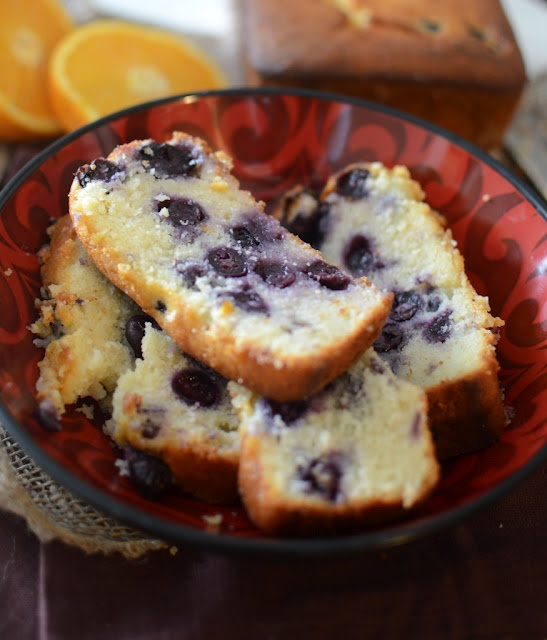Orange-blueberry loaf cake. Made  in a mini loaf pan.