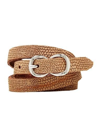 Thin textured leather belt. Available in SM and ML. Leather.