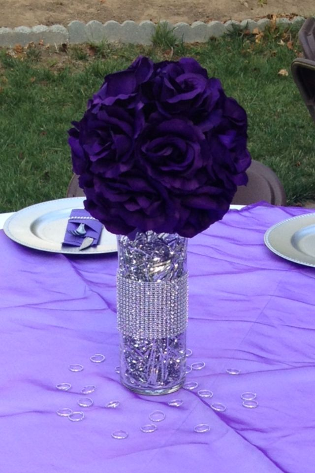 Purple and silver centerpieces party masquerade Wedding shower centerpieces