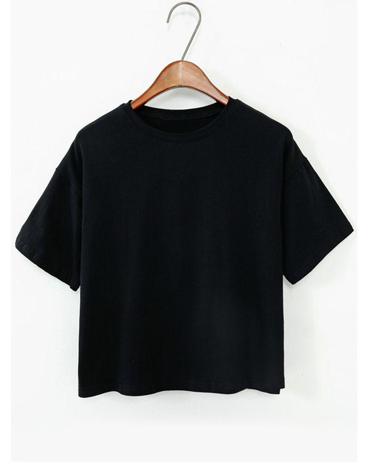 Summer Basic Tops Plain Short Sleeve T Shirt Simple Black