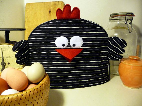 Chicken Toaster Cover White Grey Black Stripes By