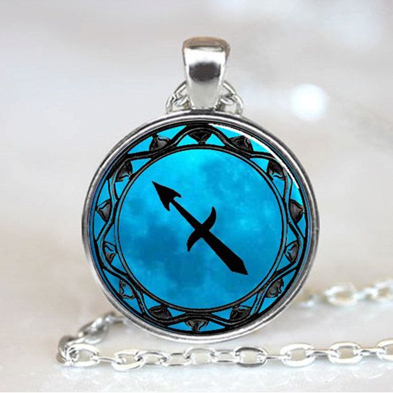 Sagittarius Blue Moon Zodiac Symbol Pendant by wizardofcharms