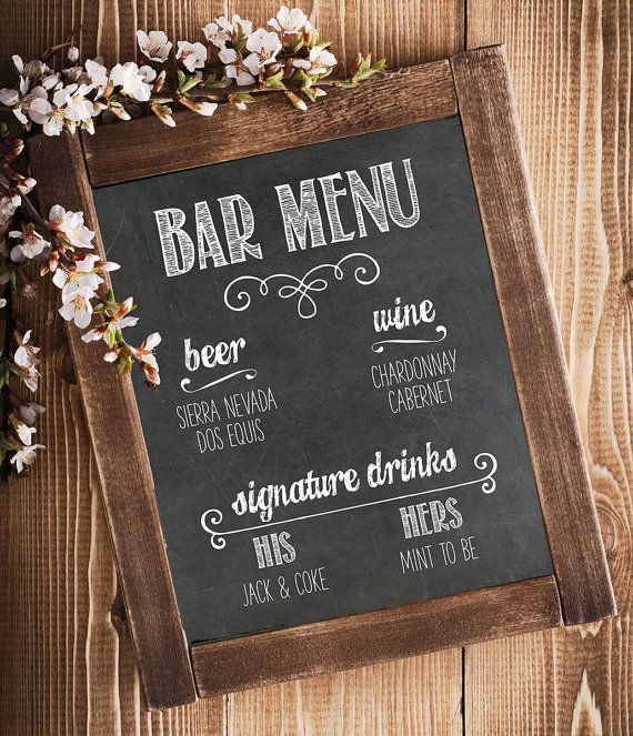 Custom Bar Menu - Chalkboard Print   Printable Art File - 8 x 10 or 11 x 14 JPG & PDF Formats - 300 DPI Resolution ORDERING PROCESS: