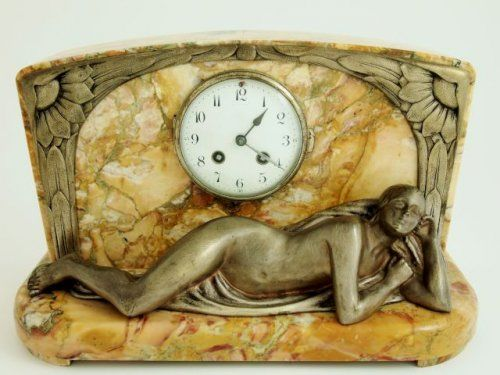 Art Deco clock with reclining lady