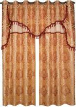 Double rideau damassé à franges