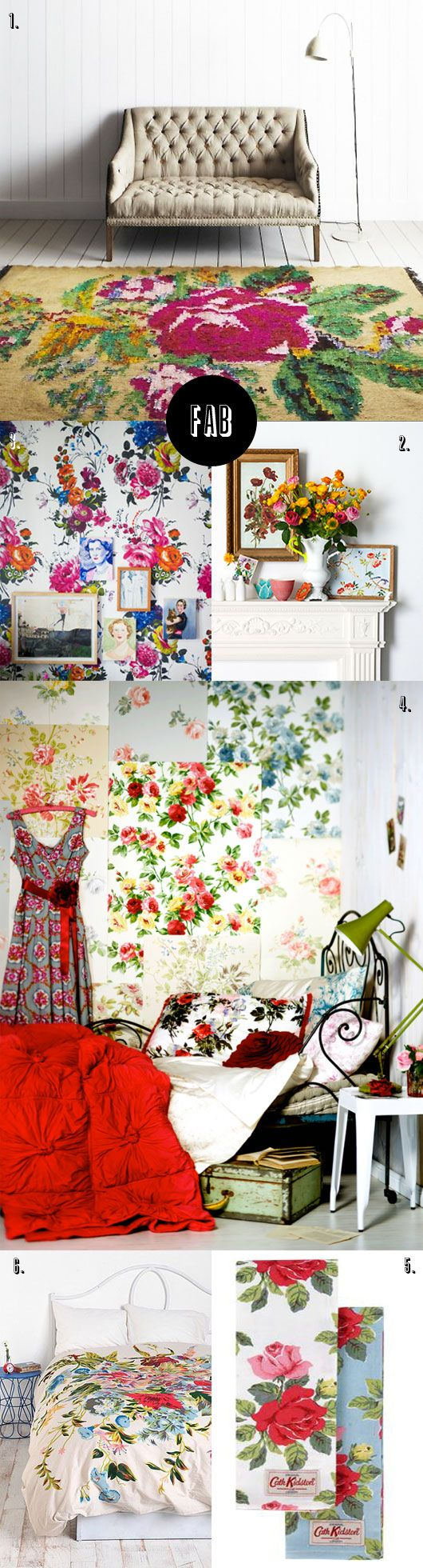 """Floral Galore, I especially love the floral """"wallpaper"""" patches on the wall in the bedroom. Gorgeous, and I could lay in those amazing comforters all day."""