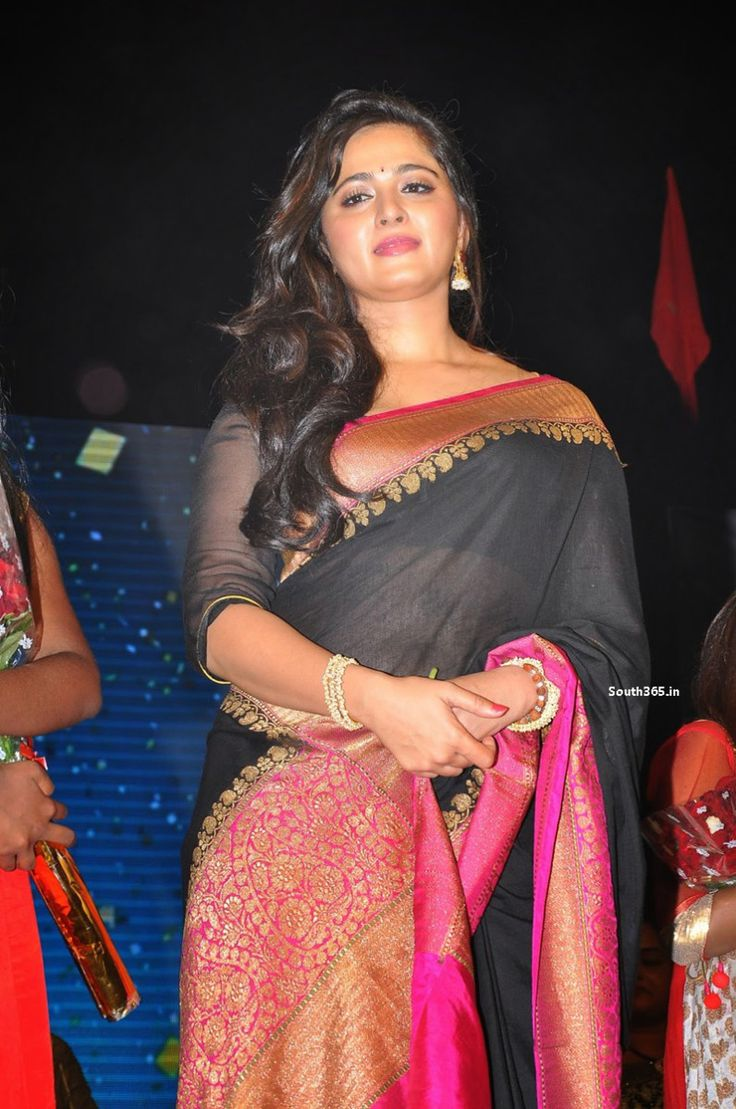 Anushka Shetty in Black Saree at RudhramaDevi Movie Music Launch