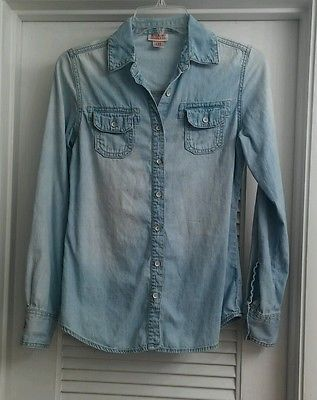 MOSSIMO SUPPLY CO Blue Denim Long Sleeve Shirt Button Down Cotton Jean Blouse XS