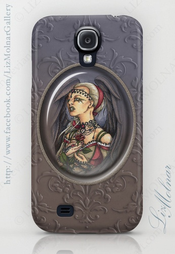 Marooned - Gothic Angel with dark feathers and rose cabochon Samsung Galaxy S4 case $35.00 #goth #gothic #samsung #galaxy #s4 #cases #fantasy