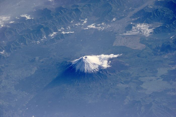 国際宇宙ステーションから見た富士山