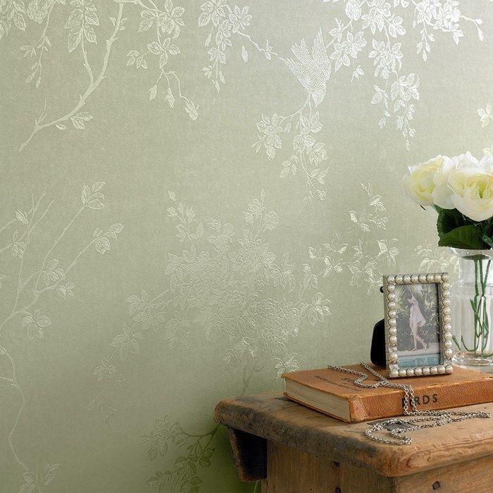 spring blossom green shimmer wallpaper by graham and brown green wallpaperwallpaper ideasdesigner - Designer Wallpaper For Bathrooms