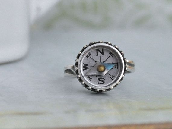 silver compass ring - GUIDENCE - antiqued silver ring with miniature vintage working compass