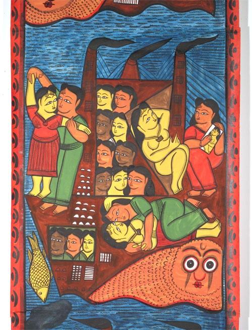 """The Tragedy of the Titanic""  Patachitra Story Scroll  Rupban Chitrakar - West Bengal, India  c. 2007  Indigo Arts Gallery | Art from Asia | Indian Folk Painting"