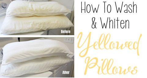 wash yellowed pillows