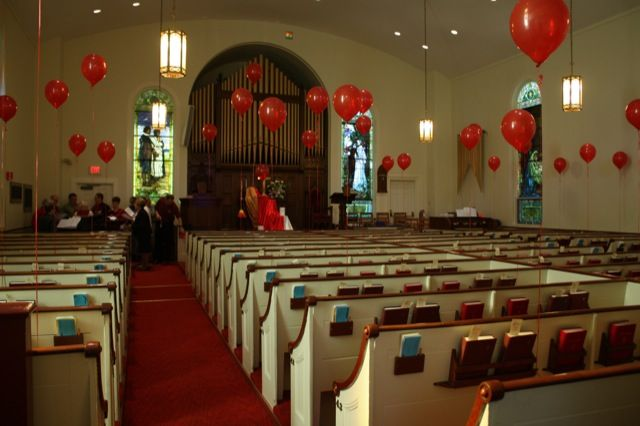 Pentecost idea | We had a wonderfully visual Pentecost celebration this weekend at RCC! Balloons are a confirmation tradition - it just makes things more festive. :) The altar: I was inspired by this photo on Pinte...