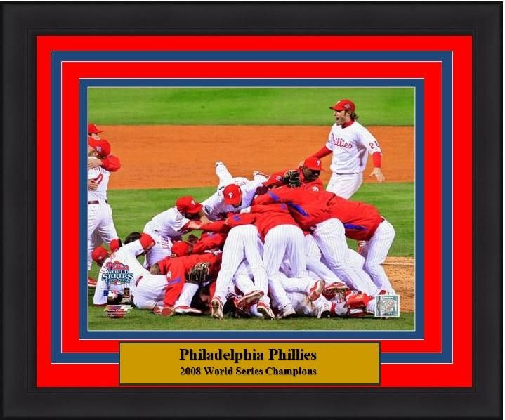 "Philadelphia Phillies 2008 World Series Celebration MLB Baseball 8"" x 10"" Framed and Matted Photo"
