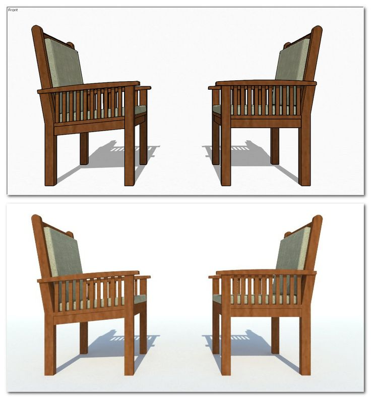 Wooden chair drawing using SketchUp then rendered