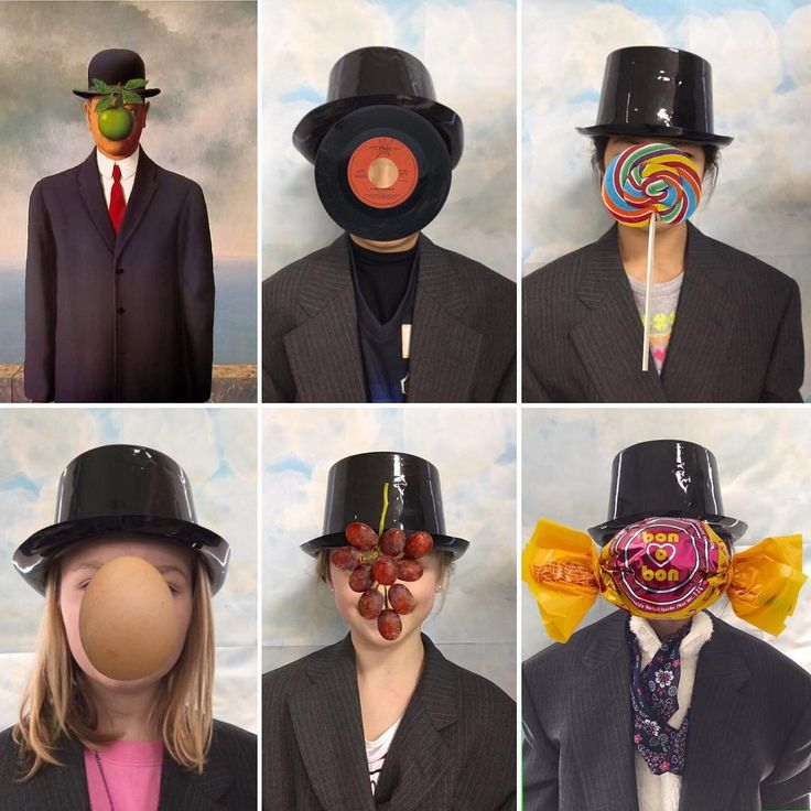 Looks fun...(Some surrealism fun as Grade 3 learn about Magritte. We took photos against a background then the kids imported their work into Faces iMake and used something ridiculous to cover their face