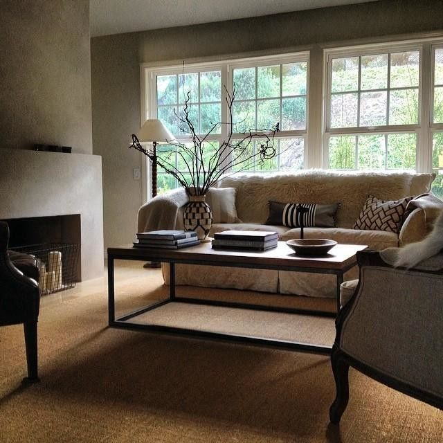 neutral living room west elm coffee table