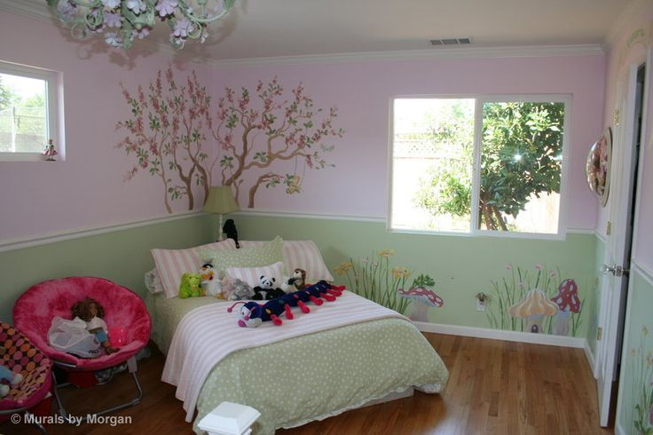 Fairy tale mural cherry blossom tree trees painted on for Cherry blossom tree mural